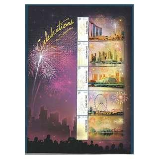 SINGAPORE 2019 CELEBRATIONS FIREWORKS & SKYLINE MYSTAMP SOUVENIR SHEET OF 5 STAMPS IN MINT MNH UNUSED CONDITION