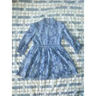 FOR SALE: Blue Cocktail Dress with Floral Details