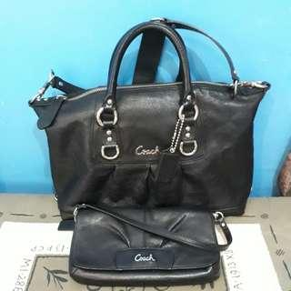 Coach leather bag and wristlet bundle