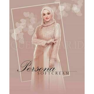 Gamis Dress Pesta / Kondangan Brokat Soft Cream