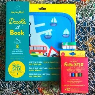 BN Brand New Jaq Jaq Bird Color Colour It Chalk Book Trains Train Cars Car Doodle Book