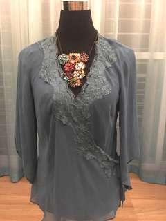 Teal sheer lace top