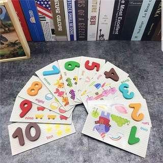 Wooden Numbers Counting Maths Educational Activities Montessori Flash Cards Puzzles Alphabets Words Animals Shapes Color Recognition