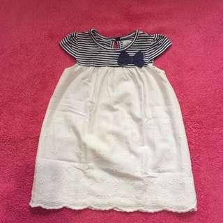 Early bird stripe white dress