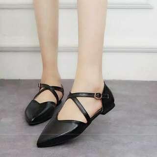 Flatshoes uk 40 sepatu flat hitam lucu