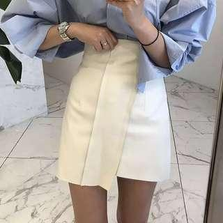 White leather high waist skirt