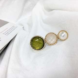 復古寶石髮夾(綠)