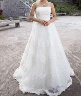 純白平腳婚紗
