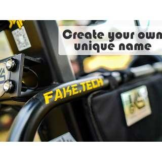 Custom Decal Wordings for Escooter, electric scooter,am,fiido,dyu