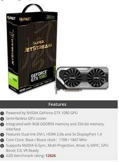 ** Priced to Sell ** Palit GeForce GTX 1080 Super Jetstream 8GB GDDR5X PCI-E Graphics Card