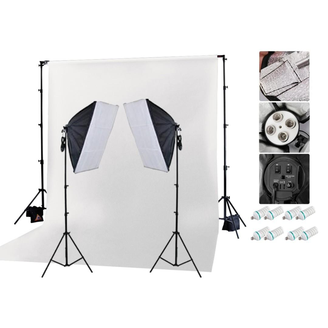 1800w Photo Video Continuous Softbox Lighting Kit + White Backdrop Kit & Stand / BRAND NEW!!