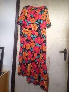 Dress zara floral asimetris