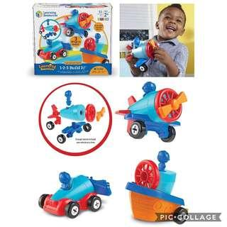 *Brand New* Learning Resources 1-2-3 Build it! Toy Car, Boat, Plane, 15 Pieces (Best Gift for Holiday, Birthday and Christmas)