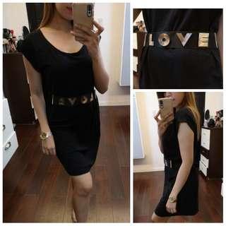Black Dress with Love buckle Belt