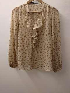 Zara Woman Long Sleeve Open Front Ruffled Trim Blouse Bird Print Summer Beige Top #50TXT Size Small