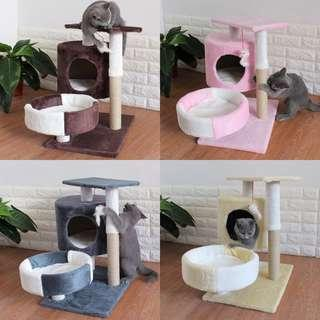 🚚 Medium Cat condo tree scratch kitten post cushion bed, not cage carrier food