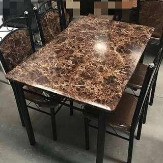 Affordable Brown marble effect dining table and four chairs
