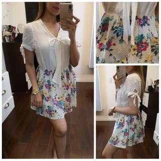 White Top; Floral Skirt One pc dress
