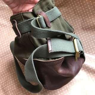 日本制crouka真皮併帆布袋
