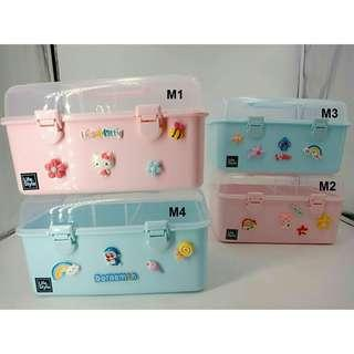 *FREE POST to West Malaysia only / Ready stock* Kids M size cute storage box each as shown in design doraemin, h kitty, melody, stitch / color. Free delivery is applied for this item. S & L size available too.