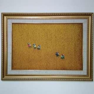 Bali Painting, complete with gold color frame 116cm x 85 cm