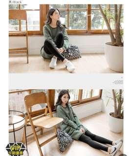 OB 台灣製造+7度輕量磨毛彈力保暖發熱褲 女裝黑色 lady black legging