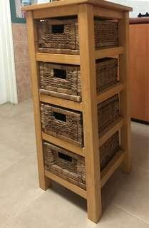 WOOD AND WICKER STORAGE UNIT 4 DRAWERS