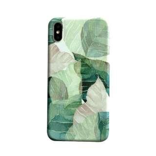 全包邊手機軟殻 Green Leaf 🍃 Simple iPhone Case