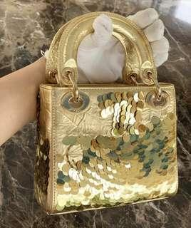 Lady dior gold limited edition sequins mirror bag