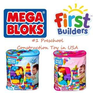 🚚 Ready Stock ! Brand New Mega Bloks 80-Piece Big Building Bag, Classic, Pink/Blue (Preschool #1 Construction Toy, Best Birthday Present For Children Toddler)