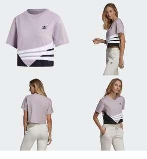 🚚 Adidas originals 短袖拼接毛巾布條紋上衣 粉紫 DU9539