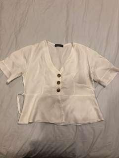 White button-down blouse