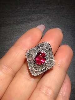 非常漂亮!日本回流紅寶石鑽石戒指