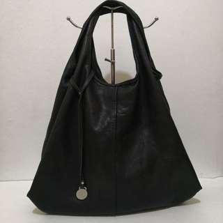 Rabeanco Black Soft Leather Hobo Bag