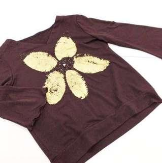 Ladies Brown Floral Top With Embellishments.