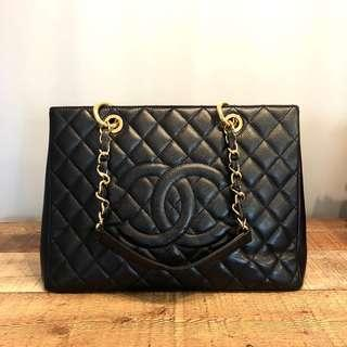 Authentic Chanel GST in Black Caviar Leather & Gold Hardware