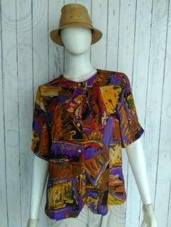 PURPLE BROWN ABSTRACT TOP