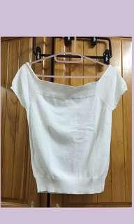 🚚 ❤️Seraph blanc白色平口縮腰純棉上衣