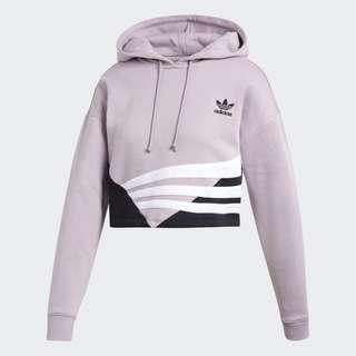 🚚 Adidas originals 短版休閒連帽帽t 粉紫 DU9537