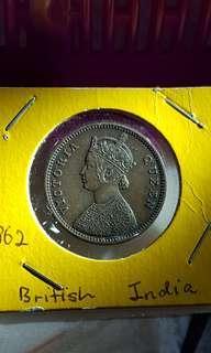 1862 Victoria Queen ,One Quarter Anna India old coin