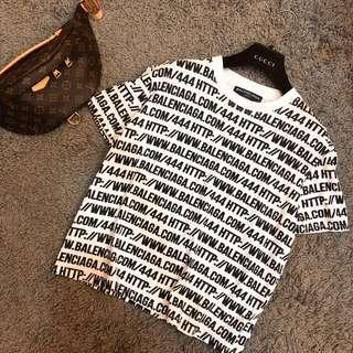 🚚 近全新現貨BALENCIAGA 滿版HTTP網址LOGO白色短袖T-shirt