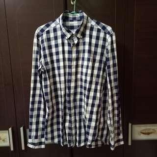 GU男生L號格子襯衫,微不對稱剪裁,有型