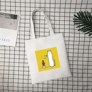 Ready stock - Korean Canvas Simple Printing Storage Single Portable Bag