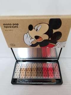 the face shop mono pop lips&eyes disney eyeshadow 限量版眼影同唇膏唇彩 米奇圖案 classic Mickey 5眼影3唇膏 全新