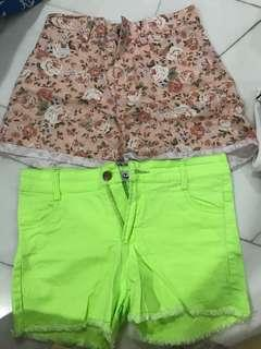 High waist floral And Neon Green shorts