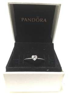 Authentic Pandora Delicate Heart Stackable Ring (Size 56)