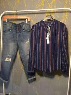 Cotton on boyfriend jeans and blouse