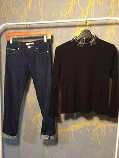 Selvage jeans and turtleneck