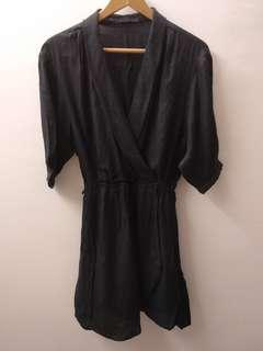 Zara Woman Overlapping Crossover Wrap Front Black Romper #50TXT Size XS