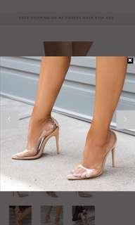 clear pointy heels